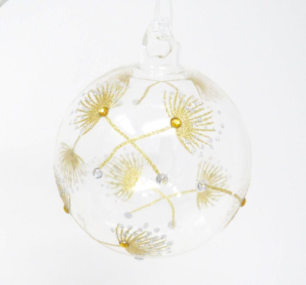 Winter's Tale Glass Flower Head Bauble - Gold