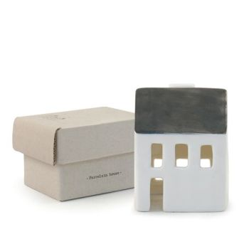 East of India Porcelain Tealight House - Small Grey Roofed