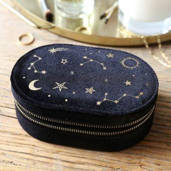 Starry Night Black Velvet Oval Jewellery Case