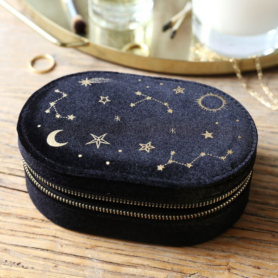 Black Starry Night Velvet Oval Jewellery Case