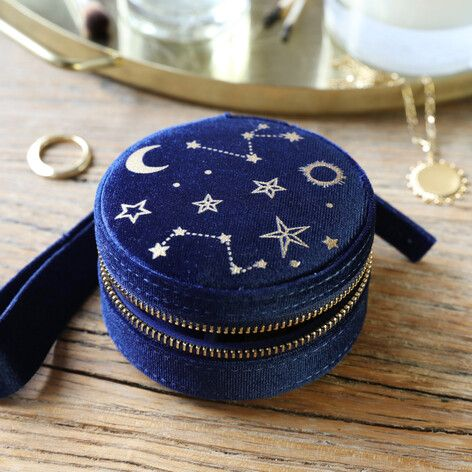 Navy Starry Night Velvet Round Jewellery Case