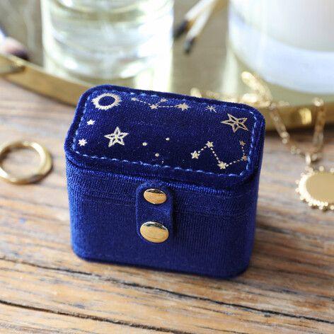 Starry Night Navy Velvet Ring Case