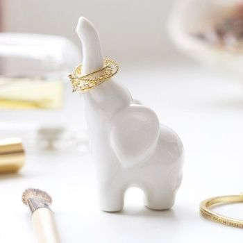 Ceramic Elephant Ring Holder - White