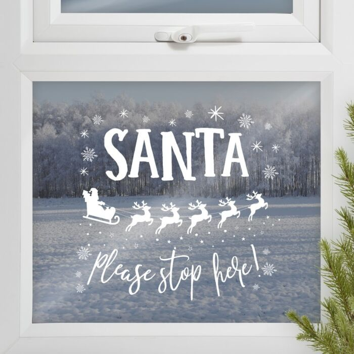 Ginger Ray Santa Please Stop Here Window Sticker