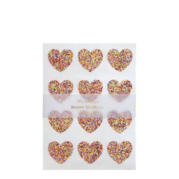 Meri Meri Glitter Heart Sticker Sheets  - Pack of 10