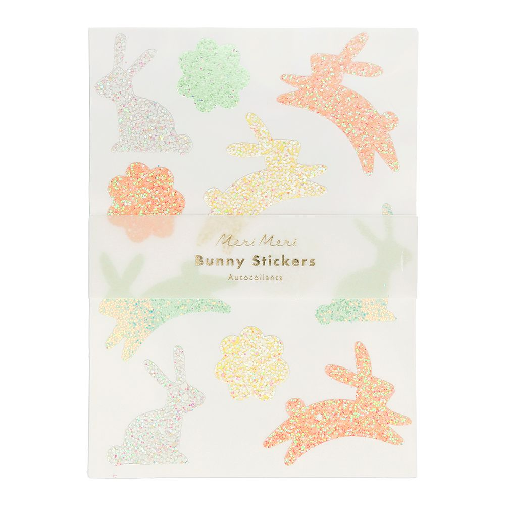Meri Meri Glitter Bunny Sticker Sheets - Pack of 10