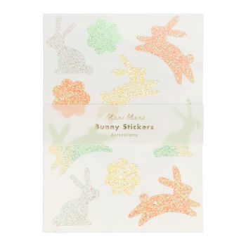 Meri Meri Glitter Bunny Sticker Sheets - Pack of 10