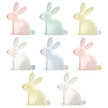 Meri Meri Pastel Bunny Plates - Pack of 8