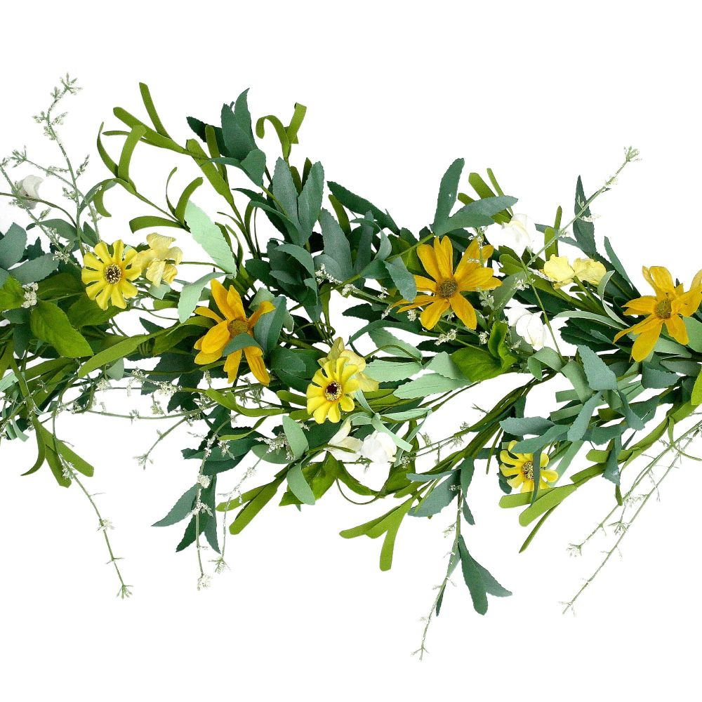 Gisela Graham Yellow Flower and Leaf Garland