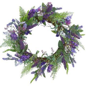Gisela Graham Blue and Purple Lavender & Leaf Wreath