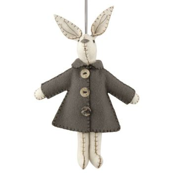 East of India Felt Bunny in a Grey Jacket Decoration