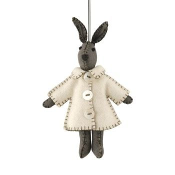East of India Felt Bunny in a Cream Jacket Decoration