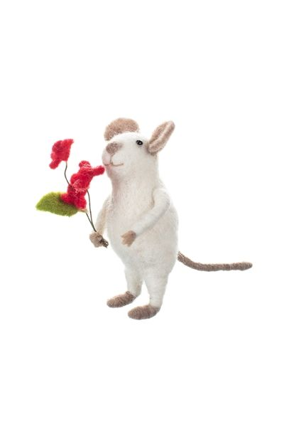 Mouse with Flower Bunch Decoration