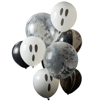 Ginger Ray Ghosts, Confetti Bats and Black Marble Halloween Balloon Cluster
