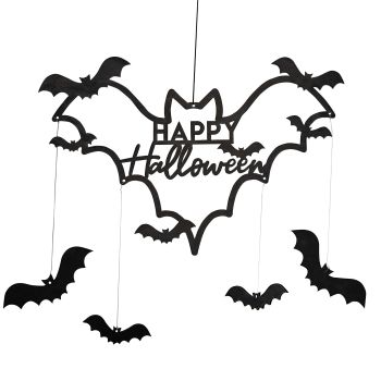Black Wood Bat Halloween Wreath