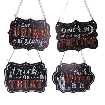 Gisela Graham Assorted Halloween Hanging Sign - 4 Assorted Designs