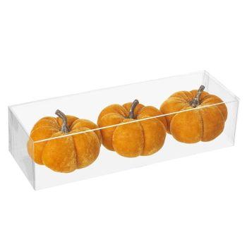 Orange Velvet Pumpkins - Set of 3