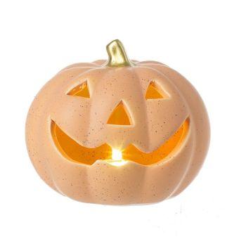 Light Up in Porcelain Pumpkin Ornament