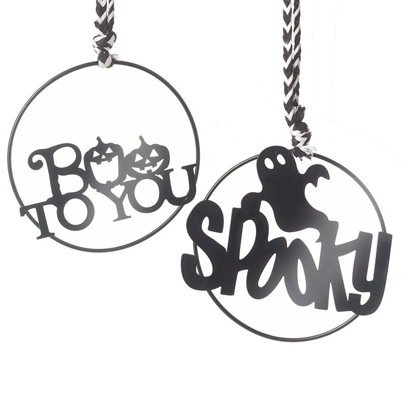 Boo To You and Spooky Black Metal Sign Mix - Set of 2