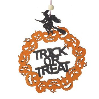 Trick or Treat Witch and Pumpkin Hanging Sign