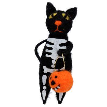 Gisela Graham Woollen Skeleton Cat Decoration