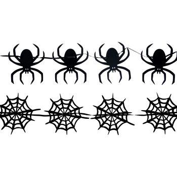 Spider and Web Black Felt Garlands - Set of 2