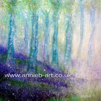 Magical bluebell woods original painting