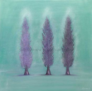 'poplars' original oil painting