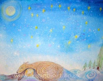 'she slept under a starry sky' original painting