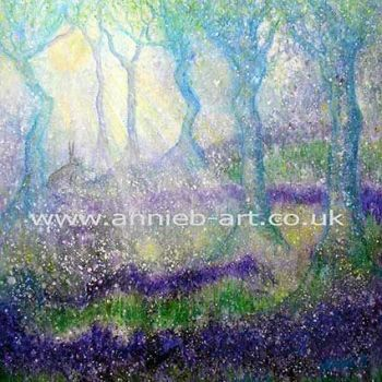 'Hare with tree goddesses in magical bluebell woods'