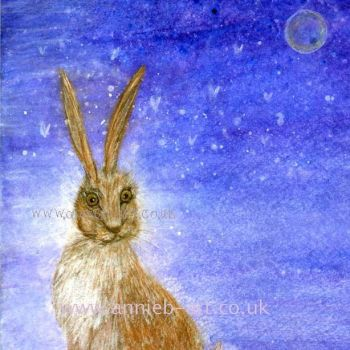Hare and the moon print