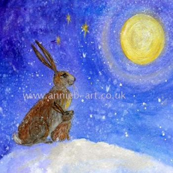 Hare and mother moon gazing print