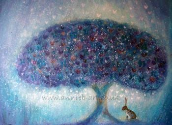 Hare and the butterfly tree print