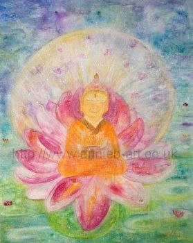 Happy Buddha in lotus flower