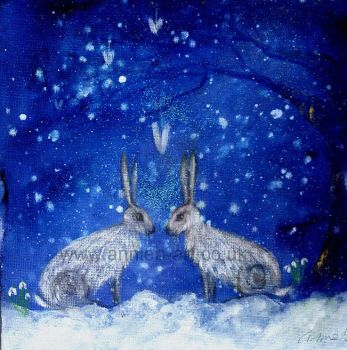 winter hares under a snowy sky