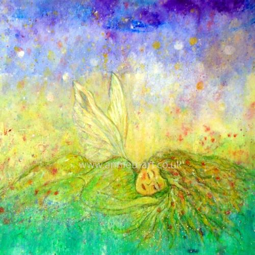butterfly nature spirit sleeping in the flowers print