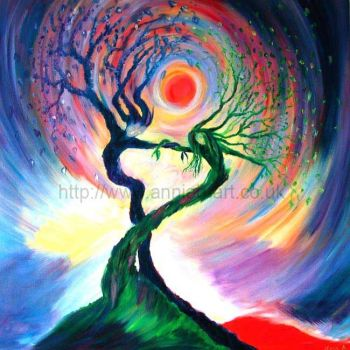 dancing tree spirits original painting