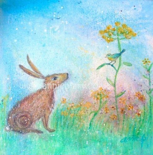 Hare and the song bird print