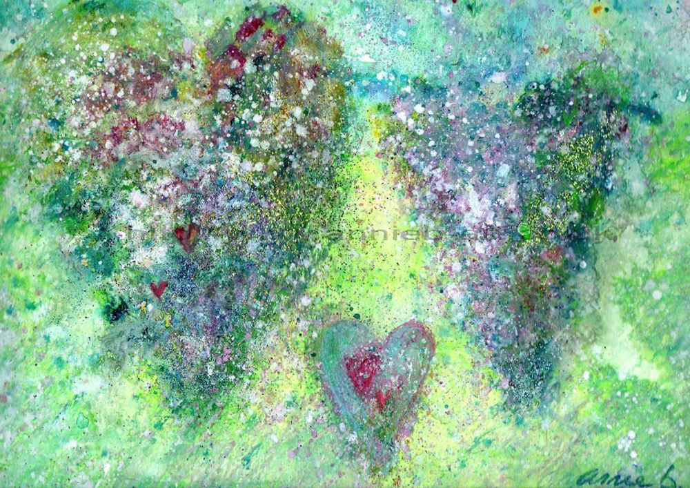 hearts painting stunning abstract art by British artist