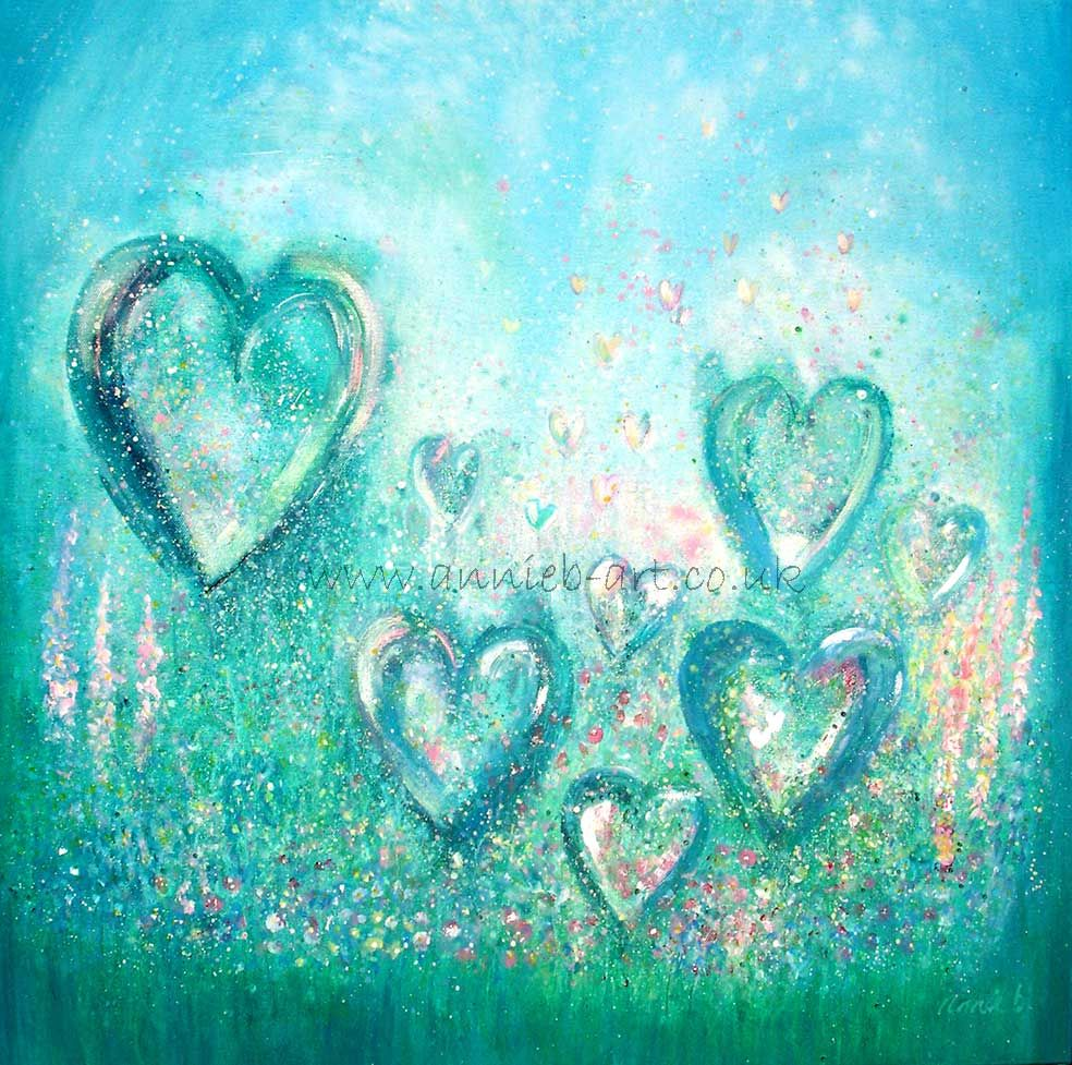 painting of hearts 'feel the love in each moment'