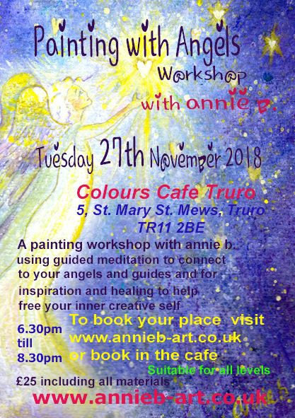 Colours Cafe Group painting with Angels workshop