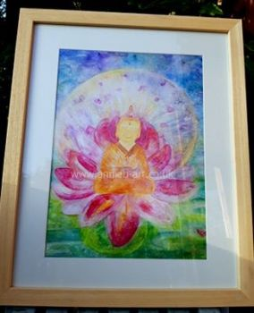 Happy Buddha in Lotus flower - LARGE FRAMED  print