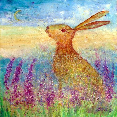 Hare in the spring flowers painting by annie b. art