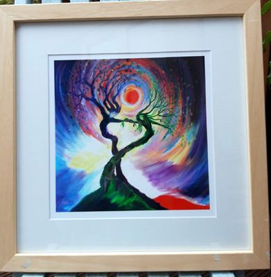 Dancing tree spirits framed fine art giclee print by annie b. art