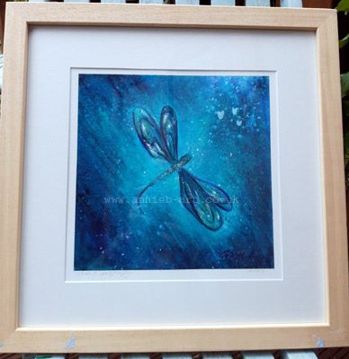 sacred dragonfly Dancing tree spirits framed fine art giclee print by annie b. art