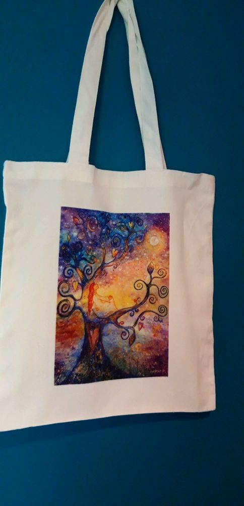 Art Tote bag - Make time for moon gazing