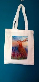 Art Tote bag- Hare in Spring flowers design