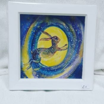 Hare reach for the stars Hand finished framed card