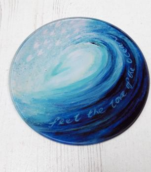 Feel the love of the Ocean Glass Art Coaster