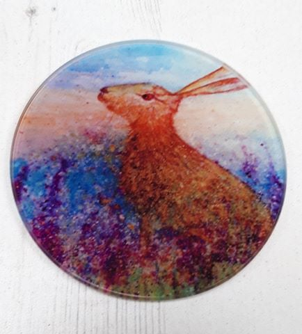 Hare in Spring Flowers Glass Art Coaster
